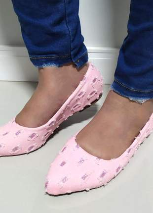 Sapatilha feminina numeração especial bico fino jeans rasgado 41ao 43