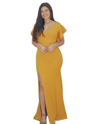 Vestido longo de festa amarelo mostarda casamento madrinha manguinha evangélica