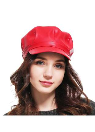 Boina gorro chapeu cap feminina couro com forro ref:259 (vermelho)