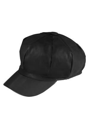 Boina gorro chapeu cap feminina couro com forro ref:259 (preto)