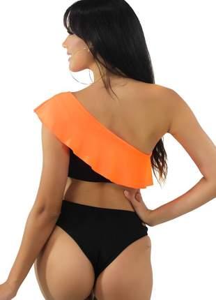 Biquini com babado laranja neon preto