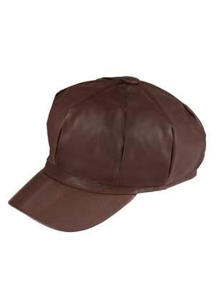 Boina gorro chapeu cap feminina couro com forro ref:259 (marrom)