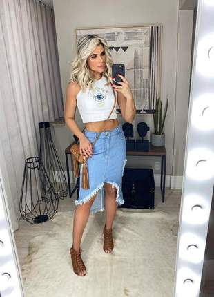 Conjunto de saia mullet jeans + cropped