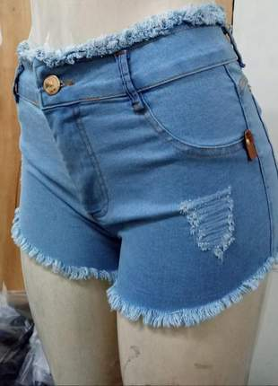 Short curto jeans claro