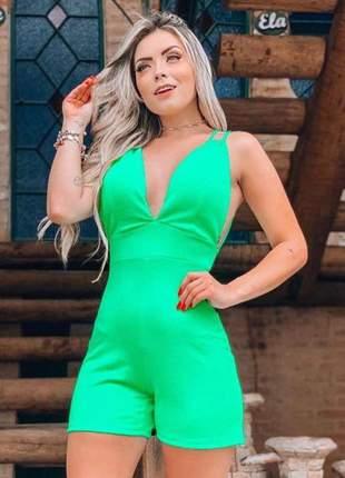 Macaquinho neon feminino com bojo crepe verde