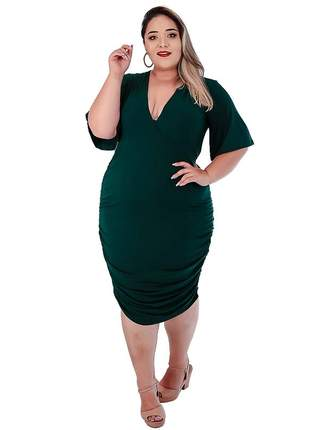 Vestido drapeado plus size transpassado com forro ref:974 (verde-musgo)