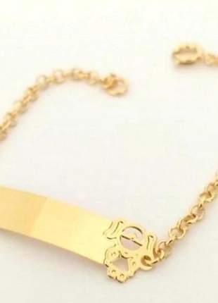 Pulseira infantil menina folheada a ouro