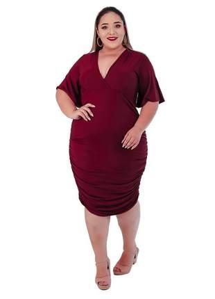Vestido drapeado plus size transpassado com forro ref:974 (bordô)
