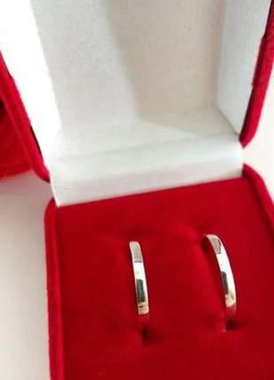 Par de aliança 2mm em prata namoro casal