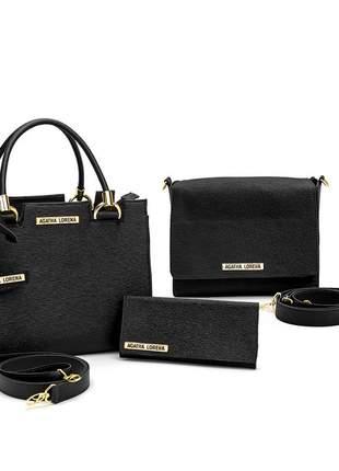 Kit bolsa castelo preto +bolsa bau + carteira
