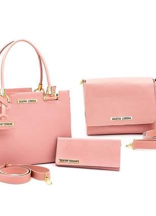 Kit bolsa castelo +bolsa bau + carteira rosa
