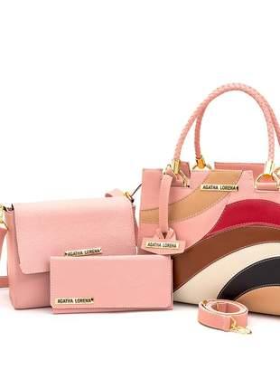 Kit bolsa castelo rosa detalhes colorida +bolsa bau + carteira