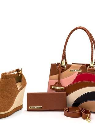 Kit bolsa castelo caramelo detalhes colorida + sandália anabela caramelo