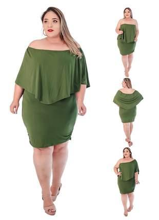 Vestido plus size inverno lançamento nova moda ref:498 (verde)