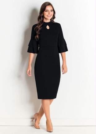 Vestido moda evangélica preto com babados