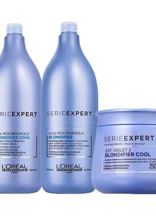 Kit blondifier shampoo + condicionador + máscara capilar l'oréal professionnel