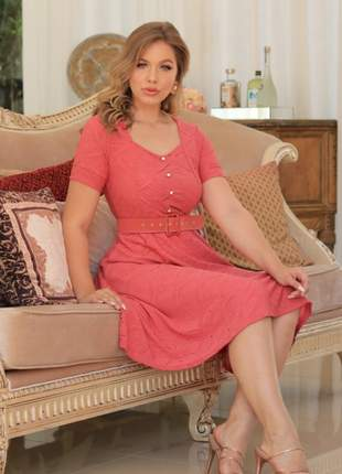 Vestido lese c/ cinto rosa