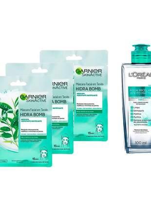 Combo 3 máscara facial  garnier skin chá verde + água micelar l'oreal paris 100ml