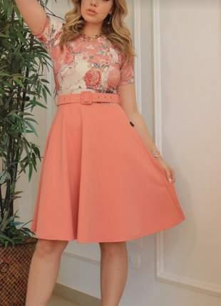 Vestido composse c/ cinto rosa