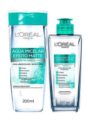 Kit água micelar  efeito matte 100ml + água micelar efeito matte 200ml l'oréal paris
