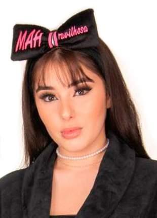 Faixa de cabelo mahravilhosa - laço estreito em plush - preto/pink