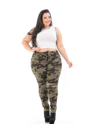 Calça feminina  jeans camuflada plus size
