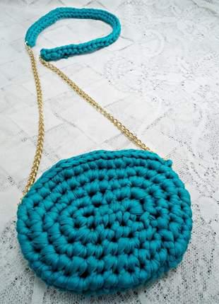 Bolsa oval de fio de malha
