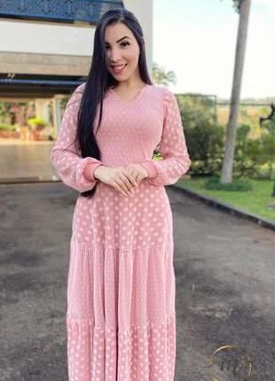 Vestido  luxo longo  rose moda evangélica