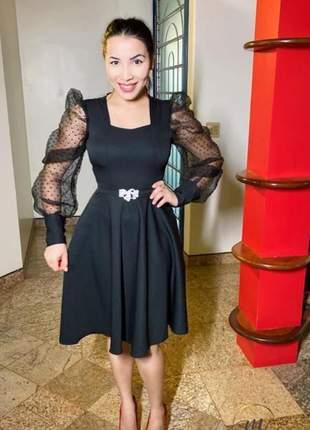 Vestido luxo preto moda evangélica