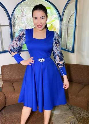 Vestido  rodado luxo azul