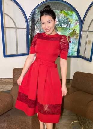 Vestido luxo vermelho moda evangélica
