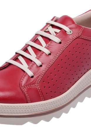 Tenis feminino em couro 3902 vermelho