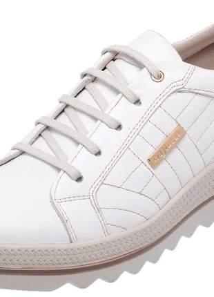 Tenis feminino em couro 3903 branco
