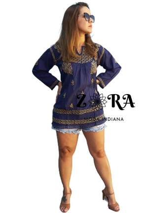 Bata indiana azul túnica blusa