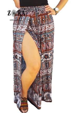 Calça indiana maya pantalona com fenda premium