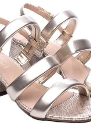 Sandálias femininas ouro salto bloco taca 6,5
