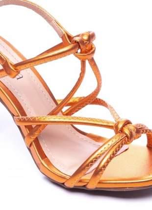 Sandálias femininas salto taca metalico