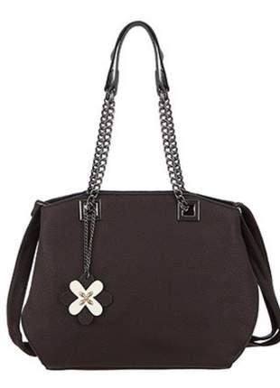 Bolsa sacola alça ombro de corrente e tiracolo marrom
