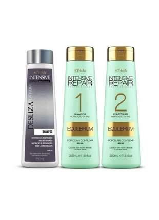Kit triskle equilibrium + shampoo matizante desliza platinum (3 itens )
