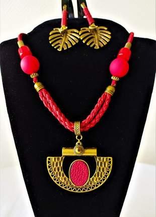 Conjunto balinês colar e brinco dourado/cereja