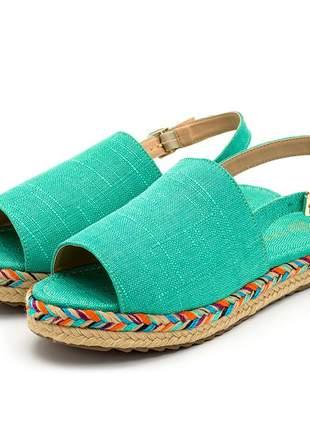 Sandália rasteira avarca azul turquesa solado tratorado corda