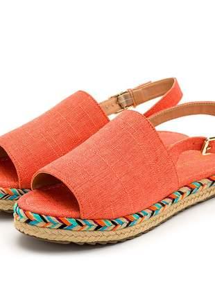Sandália rasteira avarca laranja solado tratorado corda