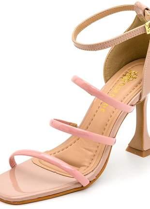 Sandália bico quadrado tiras finas salto fino taça nude