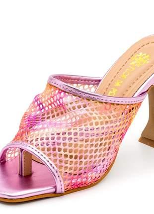 Sandália tamanco bico quadrado tela tie dye salto taça metalizado
