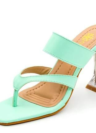 Sandália bico quadrado aberta verde claro salto fino taça transparente