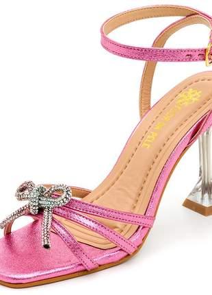 Sandália bico quadrado rosa laço strass salto taça transparente