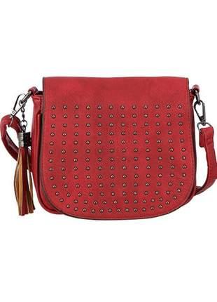 Bolsa feminina tiracolo c/ tachas e penduricalho de franja vermelho