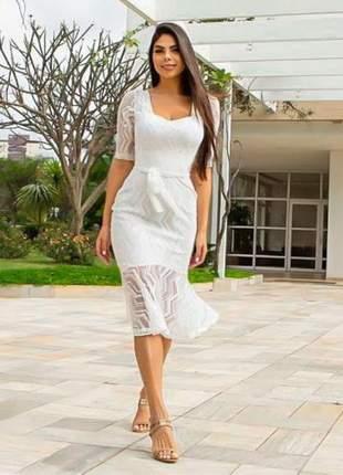 Vestido boutelle midi branco de festa renda premium