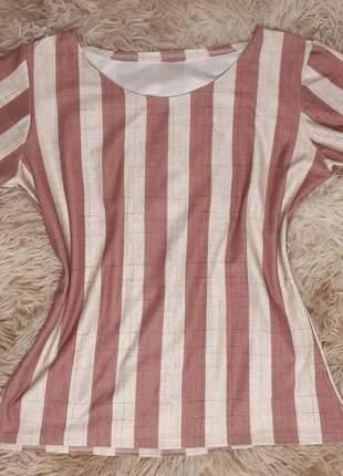 Blusa blusinha feminina listrada manga curta moda evangélica