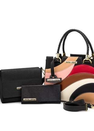 Kit bolsa castelo detalhes colorido +bolsa bau + carteira preta